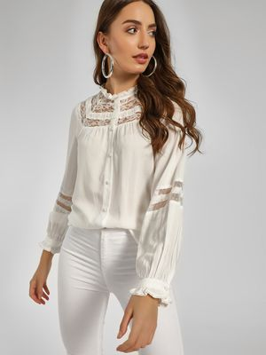 Cover Story Ruffled Lace Neck Blouse