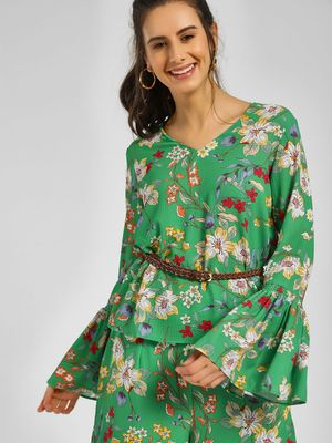 Cover Story Floral Printed Bell Sleeve Top