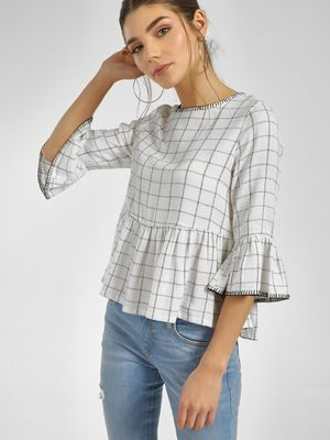 Cover Story Checkered Bell Sleeve Top