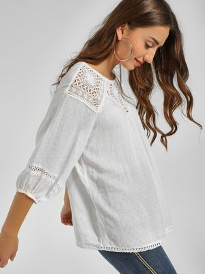 Cover Story Crochet Lace Trim Blouse