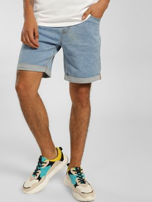 K Denim KOOVS Light Wash Denim Shorts