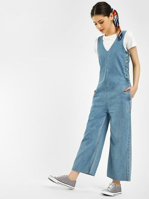 K Denim KOOVS Horn Button Denim Jumpsuit