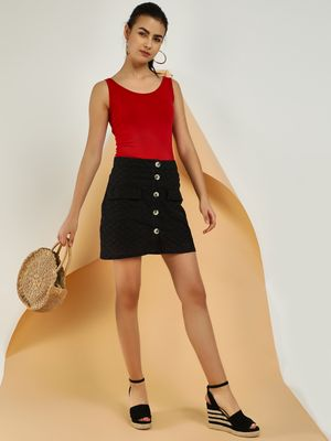 KOOVS Broderie Button Front Mini Skirt
