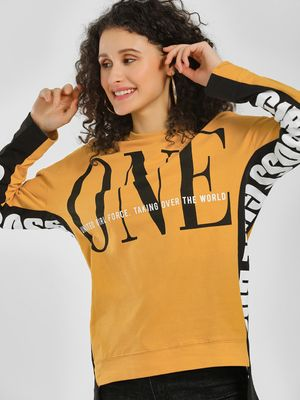KOOVS Text Side Tape Oversized Sweatshirt