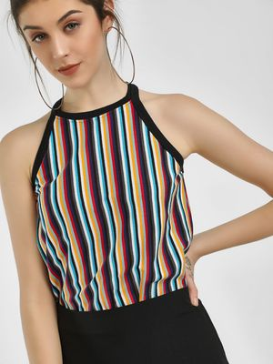Cult Fiction Multi Stripe Sleeveless Top