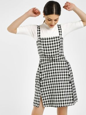 KOOVS Gingham Check Skater Dress