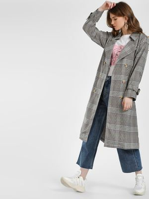 KOOVS Multi Check Trench Coat