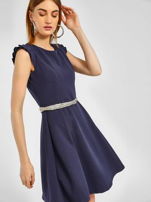 Cover Story Ruffled Cap Sleeve Skater Dress