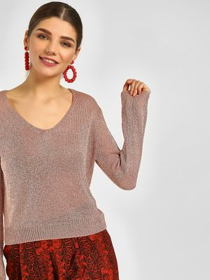Cover Story V-Neck Shimmer Knitted Pullover