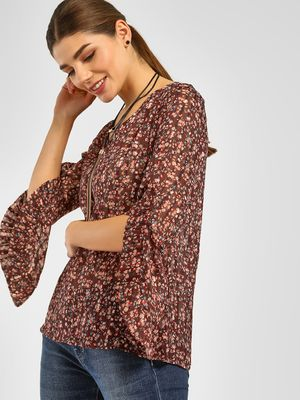 Cover Story Ditsy Floral Print Sheer Blouse