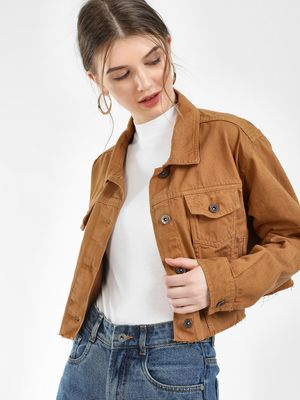 K Denim KOOVS Cropped Denim Trucker Jacket