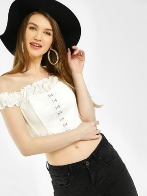 Iris Off-Shoulder Corset Bustier Crop Top
