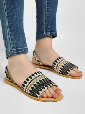 KOOVS Embroidered Slingback Flat Sandals