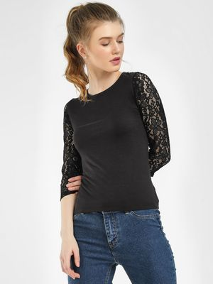 Sbuys Cut-Out Lace Sleeve Top