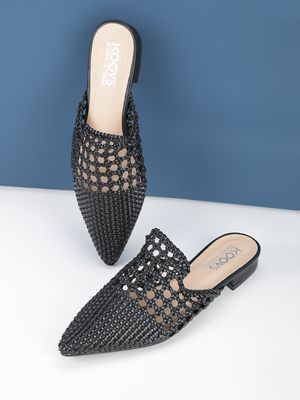 KOOVS Pointed Weaved Flat Mules