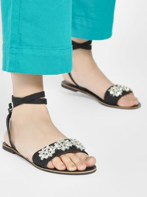 KOOVS Diamante Embellished Strap Flat Sandals