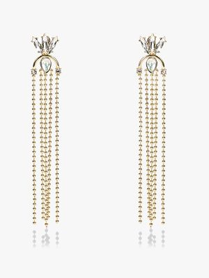Style Fiesta Gem Embellished Chain Drop Earrings