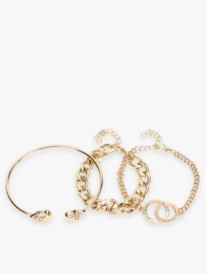 Style Fiesta Stacked Multi-Chain Bracelets (Pack of 3)