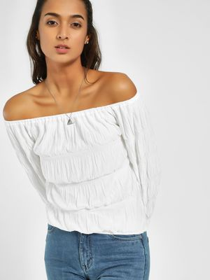 Origami Lily Tiered Bardot Top