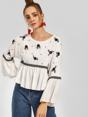 KOOVS Floral Embroidered Blouse