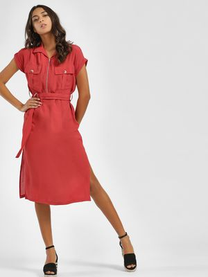 KOOVS Zipper Front Utility Midi Dress