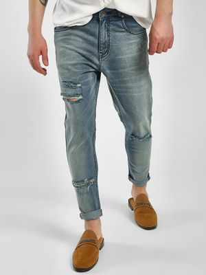 K Denim KOOVS Distressed Light Wash Jeans