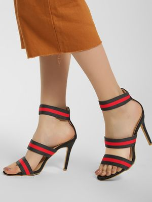 My Foot Couture Suede Elasticated Strap Heeled Sandals