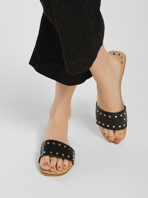 My Foot Couture Studded Strap Flat Sandals