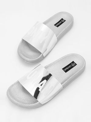 My Foot Couture Text Print Holographic Strap Slides