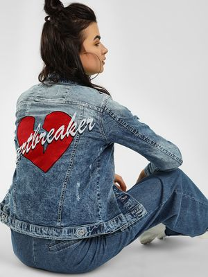 Blue Saint Heartbreaker Patch Distressed Denim Jacket