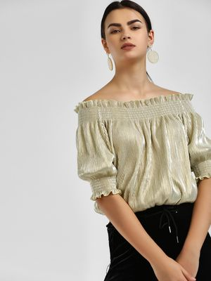KOOVS Metallic Finish Bardot Blouse