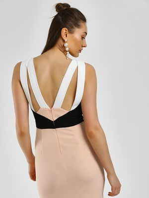 KOOVS Colour Block Cutout Bodycon Dress