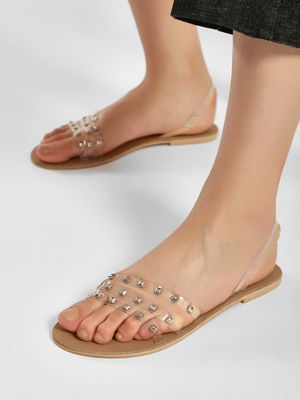KOOVS Clear Strap Studded Slingback Sandals