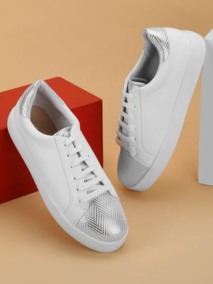 My Foot Couture Metallic Herringbone Lace-Up Sneakers