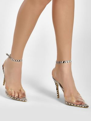 No Doubt Clear Zebra Print Heeled Pumps