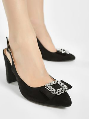 No Doubt Embellished Brooch Slingback Heeled Pumps