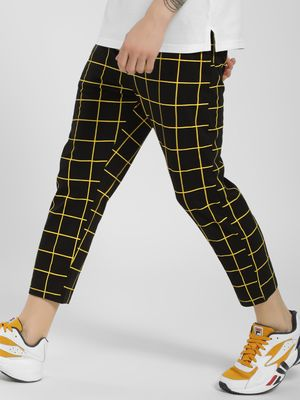 KOOVS Windowpane Check Cropped Joggers