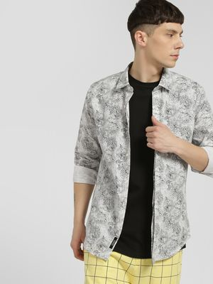 KOOVS Rose Print Smart Shirt