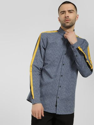 KOOVS Dot Print Contrast Tape Shirt