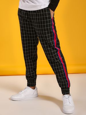 KOOVS Windowpane Check Side Tape Joggers