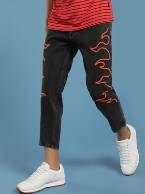 K Denim KOOVS Flame Embroidery Cropped Slim Jeans