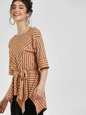 Cover Story Striped Tie-Up Blouse