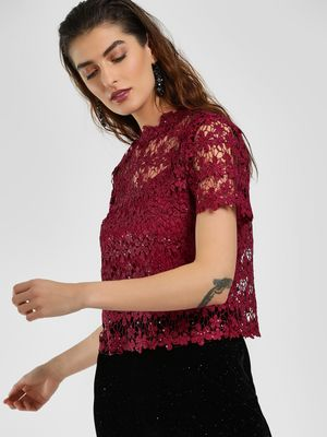Cover Story Floral Lace Sequin Blouse
