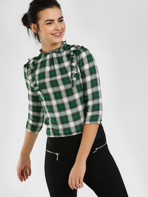Cover Story Ruffled Neck Multi-Check Blouse
