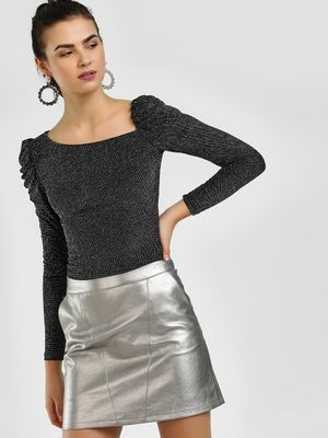 Cover Story Puffed Sleeve Asymmetric Neck Blouse