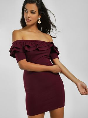 Iris Off-Shoulder Ruffle Bodycon Dress