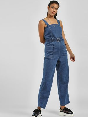 Iris Belted Strappy Denim Jumpsuit