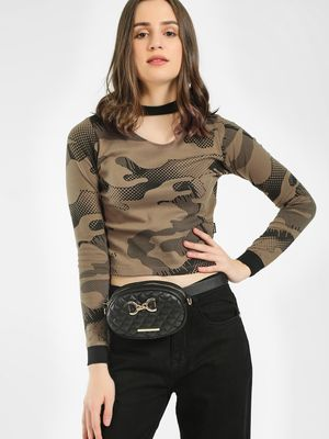 Cult Fiction Camo Print Crop T-Shirt