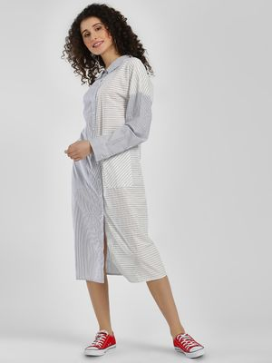 Sbuys Multi Stripes Shirt Dress
