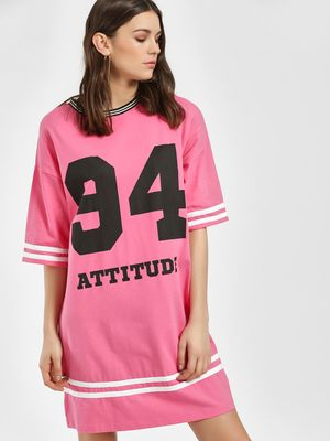 KOOVS Attitude Varsity Stripe T-Shirt Dress